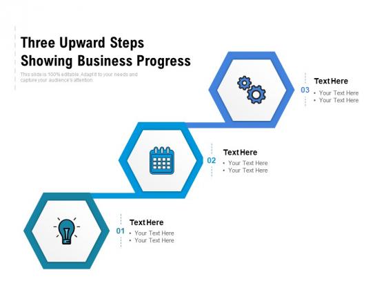 Three Upward Steps Showing Business Progress Ppt PowerPoint Presentation Professional Icon