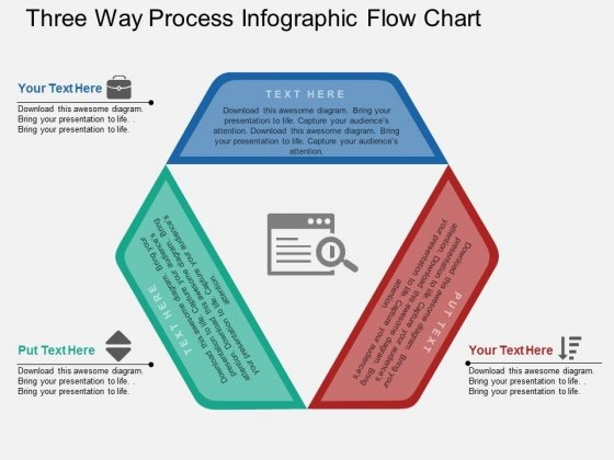 Three Way Process Infographic Flow Chart PowerPoint Template