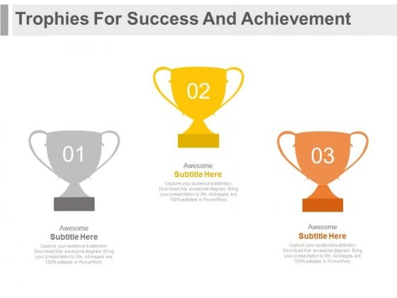 Three Winner Trophies For Success Strategy Powerpoint Template