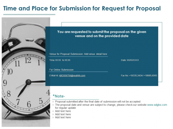 Time And Place For Submission For Request For Proposal Ppt PowerPoint Presentation Summary Backgrounds