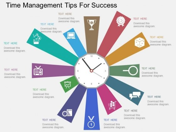 Time Management Tips For Success Powerpoint Templates