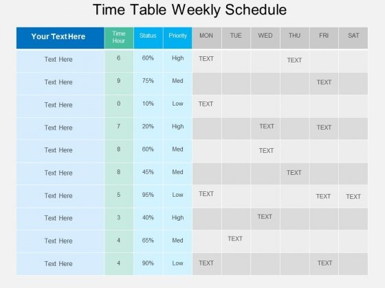 Time Table Weekly Schedule Powerpoint Template