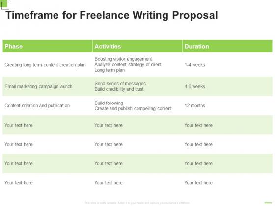 Timeframe For Freelance Writing Proposal Ppt Summary Layouts PDF