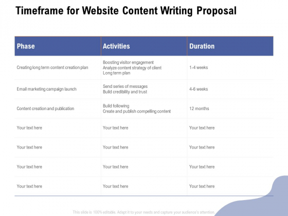 Timeframe For Website Content Writing Proposal Ppt Styles Clipart PDF