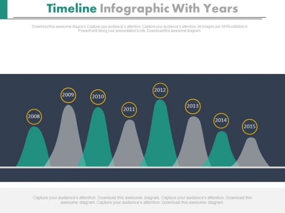 Timeline Curve Diagram With Years Powerpoint Slides