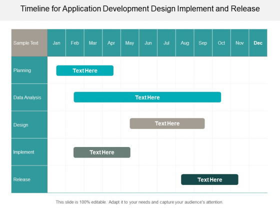 Timeline For Application Development Design Implement And Release Ppt PowerPoint Presentation Diagram Graph Charts