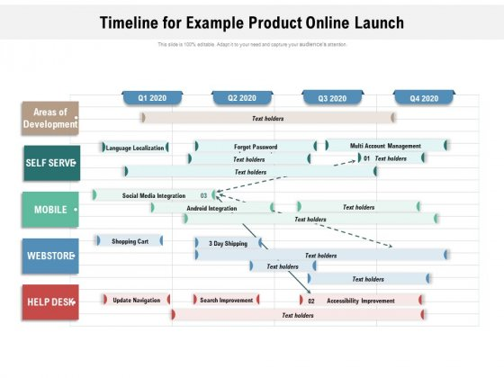 Timeline For Example Product Online Launch Ppt PowerPoint Presentation Gallery Aids PDF