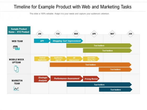 Timeline For Example Product With Web And Marketing Tasks Ppt PowerPoint Presentation Gallery Tips PDF
