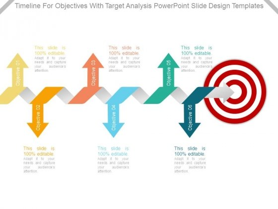 Timeline For Objectives With Target Analysis Powerpoint Slide Design Templates