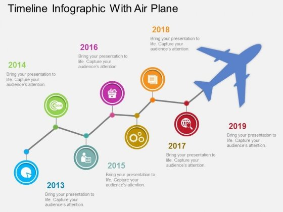 timeline infographic with air plane powerpoint template powerpoint