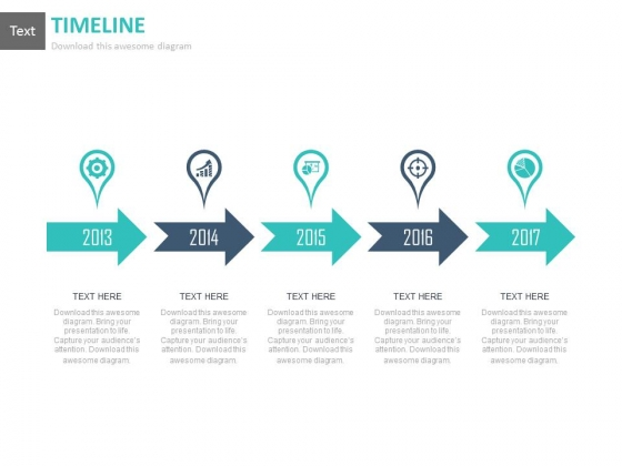 Timeline Linear Arrows Infographic Chart Powerpoint Slides
