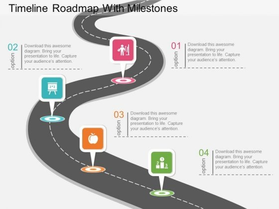 Timeline Roadmap With Milestones Powerpoint Template PowerPoint - Milestone timeline template