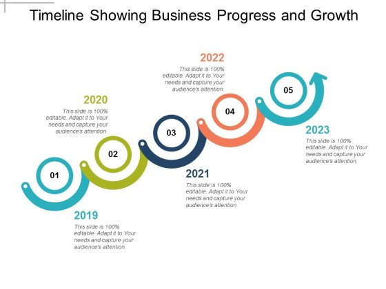 Timeline Showing Business Progress And Growth Ppt Powerpoint Presentation Inspiration Images