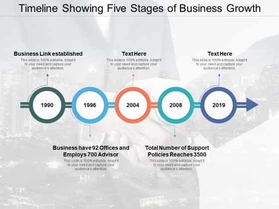Timeline Showing Five Stages Of Business Growth Ppt PowerPoint Presentation Portfolio Graphic Tips