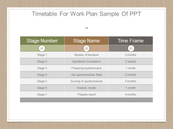 Timetable For Work Plan Sample Of Ppt  Powerpoint Templates