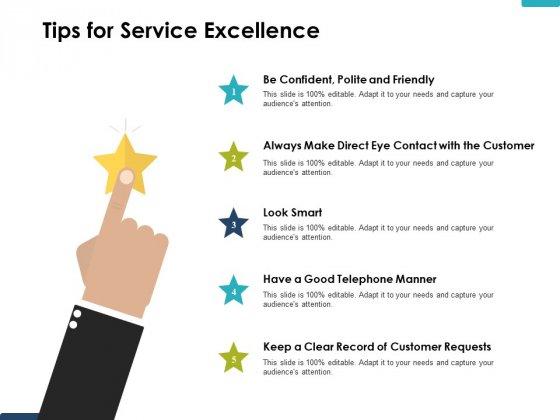 Tips For Service Excellence Ppt PowerPoint Presentation Gallery Master Slide