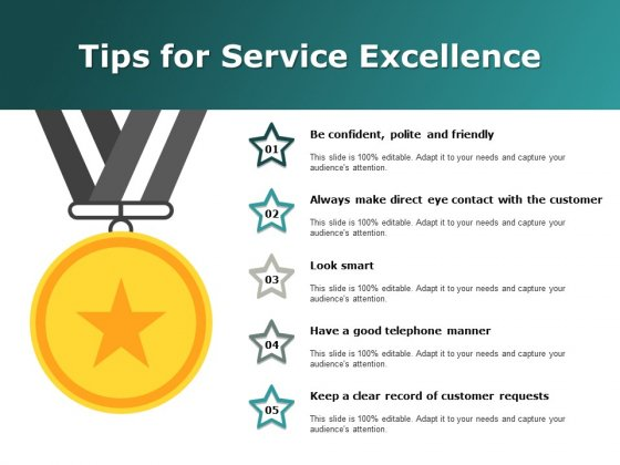Tips For Service Excellence Ppt Powerpoint Presentation Inspiration