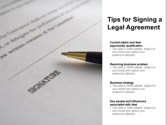 Tips For Signing A Legal Agreement Ppt PowerPoint Presentation Inspiration Smartart