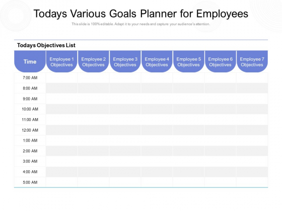 Todays Various Goals Planner For Employees Ppt PowerPoint Presentation Layouts Layout Ideas PDF