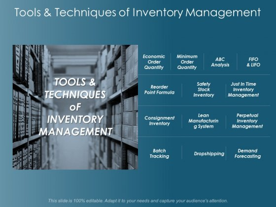 Tools And Techniques Of Inventory Management Ppt Powerpoint Presentation Model Inspiration