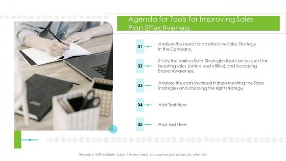 Tools For Improving Sales Plan Effectiveness Agenda For Tools For Improving Sales Plan Effectiveness Topics PDF