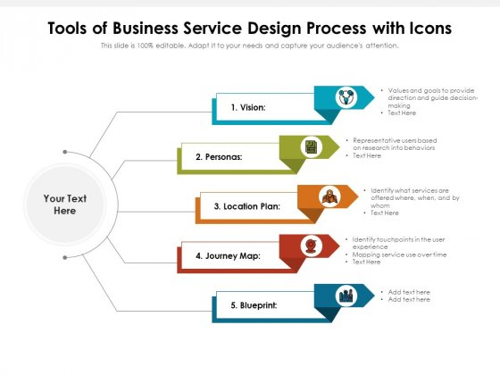 Tools Of Business Service Design Process With Icons Ppt PowerPoint Presentation Gallery Slide PDF
