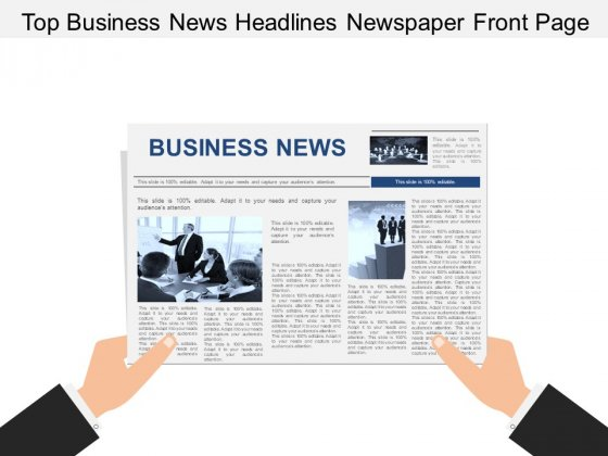 Top Business News Headlines Newspaper Front Page Ppt PowerPoint Presentation Ideas Pictures