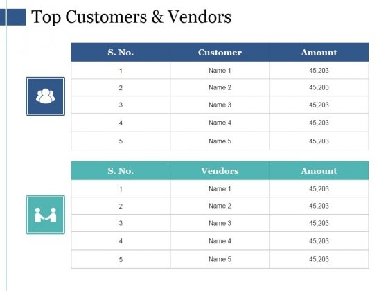 Top Customers And Vendors Ppt PowerPoint Presentation Ideas Designs