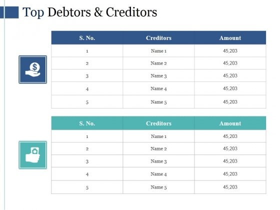 Top Debtors And Creditors Ppt PowerPoint Presentation Sample