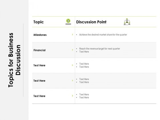 Topics For Business Discussion Ppt PowerPoint Presentation Pictures Deck