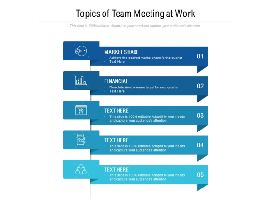 Topics Of Team Meeting At Work Ppt PowerPoint Presentation Gallery Professional