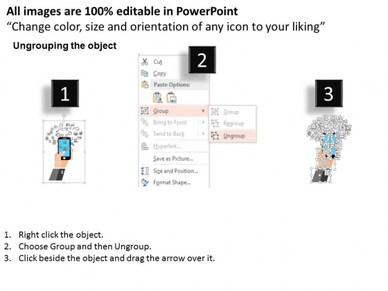 touch screen mobile with social media apps powerpoint template, Modern powerpoint