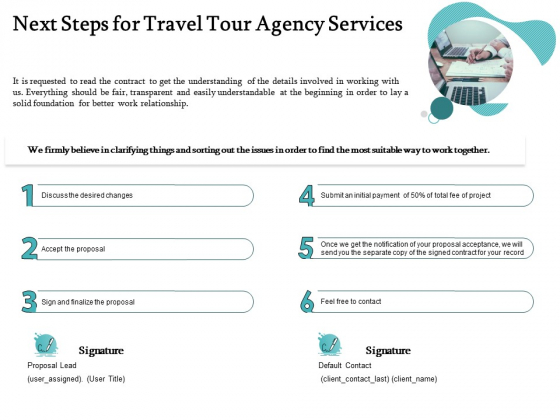 Tourism And Leisure Firm Next Steps For Travel Tour Agency Services Ppt Gallery Example PDF