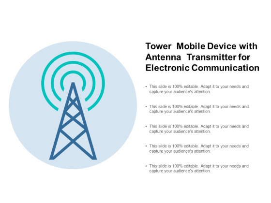Tower Mobile Device With Antenna Transmitter For Electronic Communication Ppt PowerPoint Presentation File Background Image