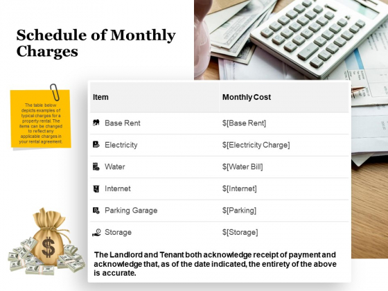 Tracking Rent Receipt Invoice Summary Schedule Of Monthly Charges Ppt Professional Background PDF
