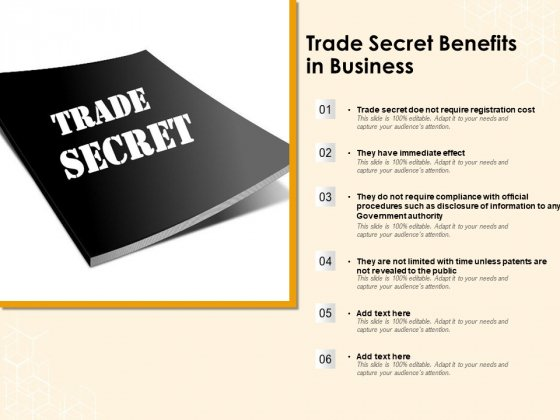 Trade Secret Benefits In Business Ppt PowerPoint Presentation Inspiration Introduction PDF