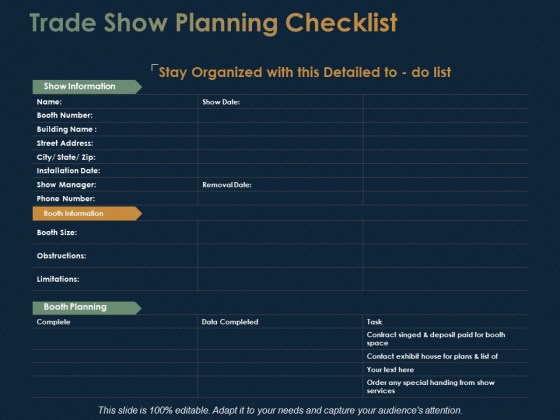 Trade Show Planning Checklist Ppt PowerPoint Presentation Visual Aids Backgrounds
