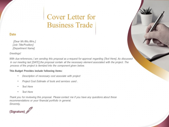 Trading Company Cover Letter For Business Trade Ppt Portfolio Rules Pdf Powerpoint Templates