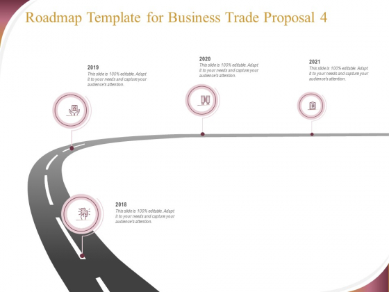 Trading Company Roadmap Template For Business Trade Proposal 2018 To 2021 Ppt Inspiration Deck PDF