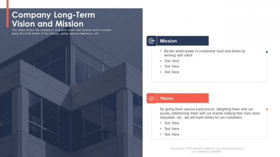 Trading Current Franchise Business Company Long Term Vision And Mission Themes PDF