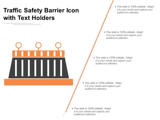 Traffic Safety Barrier Icon With Text Holders Ppt Powerpoint Presentation Portfolio Brochure