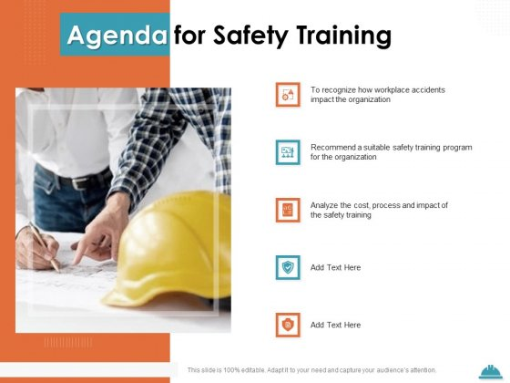 Train Employees Health Safety Agenda For Safety Training Ppt Pictures Grid PDF