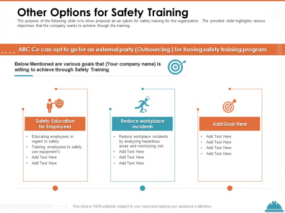 Train Employees Health Safety Other Options For Safety Training Ppt Portfolio Portrait PDF