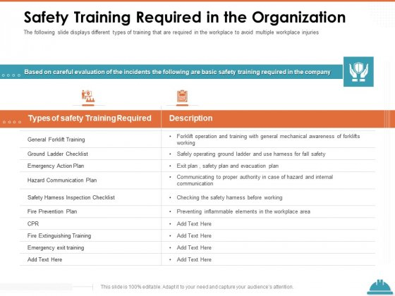 Train Employees Health Safety Safety Training Required In The Organization Sample PDF