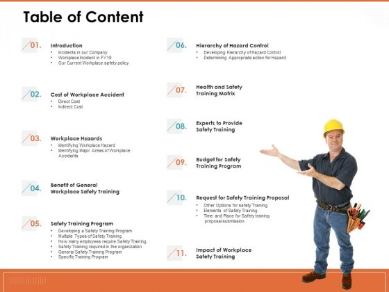 Train Employees Health Safety Table Of Content Ppt Model Infographic Template PDF