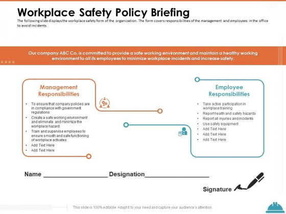 Train Employees Health Safety Workplace Safety Policy Briefing Ppt Ideas Inspiration PDF