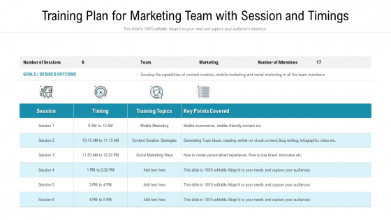 training plan for marketing team with session and timings ppt slides portfolio pdf