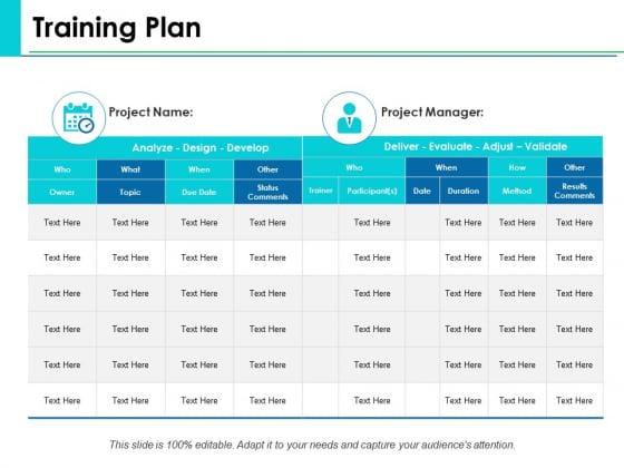 Training Plan Ppt PowerPoint Presentation Example 2015