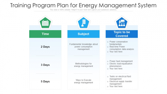 Training Program Plan For Energy Management System Ppt Icon Infographic Template PDF
