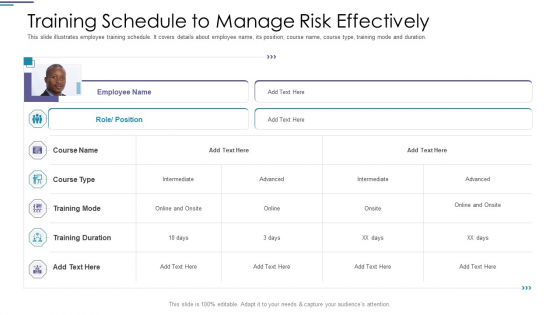 Training Schedule To Manage Risk Effectively Ppt PowerPoint Presentation Inspiration Portrait PDF